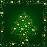 Green Christmas Design. A beautiful Christmas background with a tree decorated with golden stars in green color Royalty Free Stock Photo