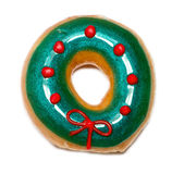 Green christmas donut Royalty Free Stock Image