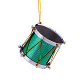 Green Christmas Drum Ornament. A green Christmas tree drum ornament isolated against a white background in the Square format Stock Image