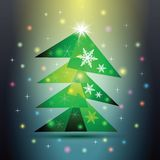 Green Christmas fir tree on colorful background. Royalty Free Stock Photography