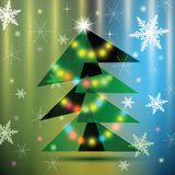 Green Christmas fir tree on colorful background. Stock Photography