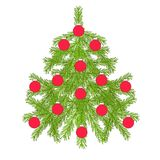 Green christmas fir tree, red ball on white, clipart. Stock vector illustration Stock Images