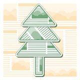 Green Christmas fir tree from sheets of newspaper. New year christmastree isolated on journal template background. Origami style stock illustration