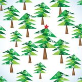 Green Christmas fir trees seamless background. Vector illustration Stock Image