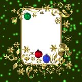 Green Christmas frame. Illustration of a decorative Christmas frame with space for text Stock Images