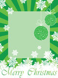 Green christmas frame. (card) with toys, snowflakes & Merry Christmas text Royalty Free Stock Photography