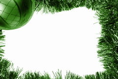 Green Christmas frame with bauble Stock Photo