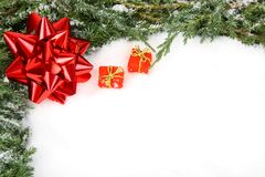 Green Christmas frame with red bow ribbon Royalty Free Stock Photography