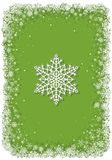 Green Christmas frame with snowflakes Stock Photos