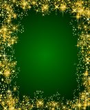 Green christmas frame with stars Stock Photo