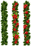 Green Christmas garlands of holly Royalty Free Stock Photo