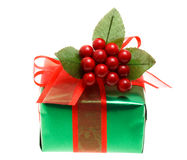 Green Christmas gift box Royalty Free Stock Images