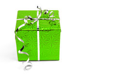 Green Christmas gift boxes on white background Stock Photos