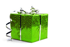 Green Christmas gift boxes on white background Royalty Free Stock Image