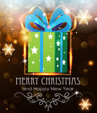 Green Christmas Gift on holiday background Royalty Free Stock Image