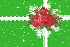 Green Christmas Gift Package With Vintage Roses Stock Images