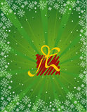 Green christmas gift vector. Over green background Stock Image