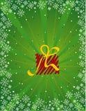 Green christmas gift vector. Over green background Vector Illustration