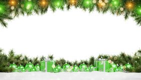 Green christmas gifts and baubles isolated 3D rendering. Green christmas gifts and baubles isolated on white background 3D rendering stock illustration
