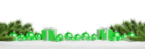 Green christmas gifts and baubles isolated 3D rendering. Green christmas gifts and baubles isolated on white background 3D rendering royalty free illustration