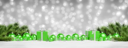 Green christmas baubles and gifts lined up 3D rendering. Green christmas gifts and baubles lined up on grey snowy background 3D rendering stock illustration