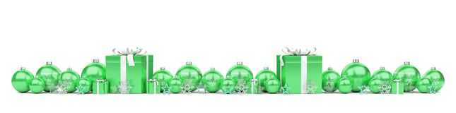 Green christmas baubles and gifts lined up 3D rendering. Green christmas gifts and baubles lined up on white background 3D rendering royalty free illustration