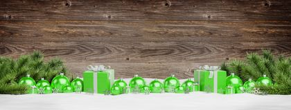 Green christmas baubles and gifts lined up 3D rendering. Green christmas gifts and baubles lined up on wooden background 3D rendering royalty free illustration