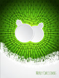 Green christmas greeting with bursting christmas decoration Stock Image