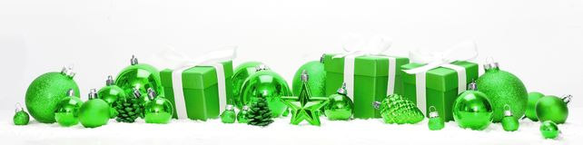 Green christmas holidays decoration on a white background royalty free stock photography