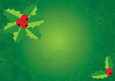 Green Christmas with holly Stock Photography