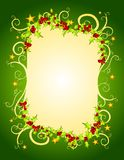 Green Christmas Holly and Stars Frame Stock Photo