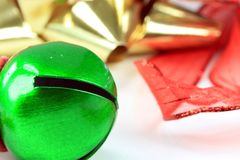 Green Christmas Jingle Bell Stock Photos