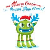 Green Christmas Monster Vector Card. Holiday Cartoon Mascot. Merry Christmas, Happy New Year. Stock Photos
