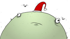 Green Christmas Monster Wearing Santa Hat CArtoon Illustration Royalty Free Stock Photo
