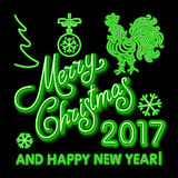 Green Christmas neon sign. Vector Illustration. green merry Christmas and happy new year 2017 neon, light color toy, rooster. Snow art Stock Photography