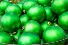 Green Christmas ornament balls Royalty Free Stock Images