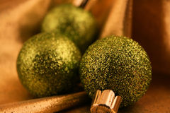 Green Christmas Ornaments Stock Photography