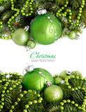 Green Christmas ornaments border royalty free stock photo