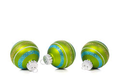 Green Christmas Ornaments on white background with copy space Stock Photography
