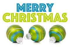 Green Christmas Ornaments on white background with copy space Stock Image