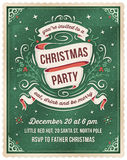 Green Christmas Party Invitation Template. Elegant dark green christmas invitation with beige and red ornaments and ribbons. Room for text at the bottom stock illustration