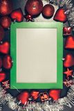 Christmas photo frame. Green christmas photo frame. Ready for your text or picture Stock Photos