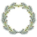 Green christmas pine wreath. blue spruce christmas wreath. royalty free illustration