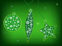 Green christmas postcard Stock Photo