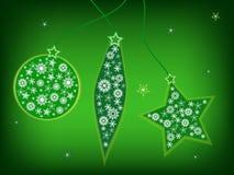Green christmas postcard. Christmas greeting card with christmas adorns Stock Photo