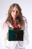 Green christmas present Stock Images
