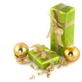 Green christmas presents Stock Photography