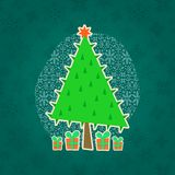 Green Christmas Retro Greeting Card Stock Images