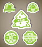 Green christmas sale labels Royalty Free Stock Photos