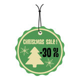 Green Christmas sale tag Stock Images